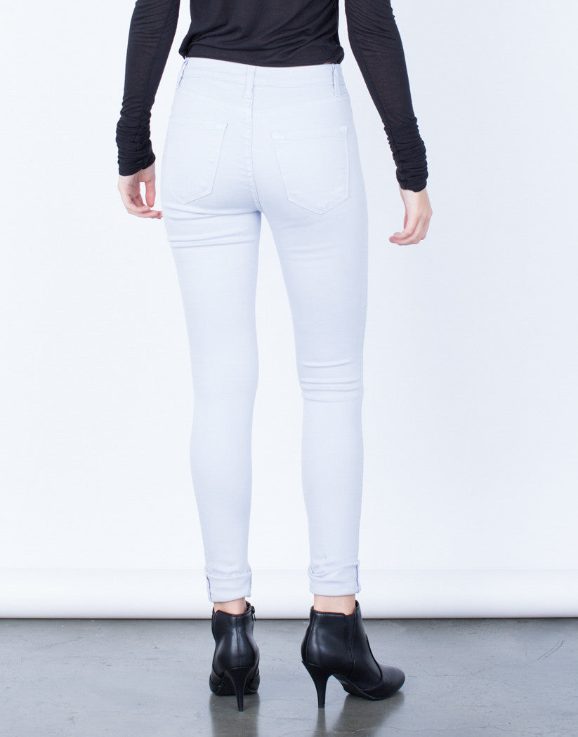 Back  View of High Waisted Knee Slit Pants