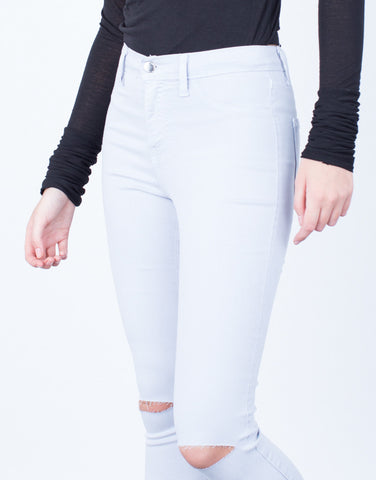 Detail of High Waisted Knee Slit Pants