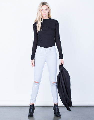 Front View of High Waisted Knee Slit Pants