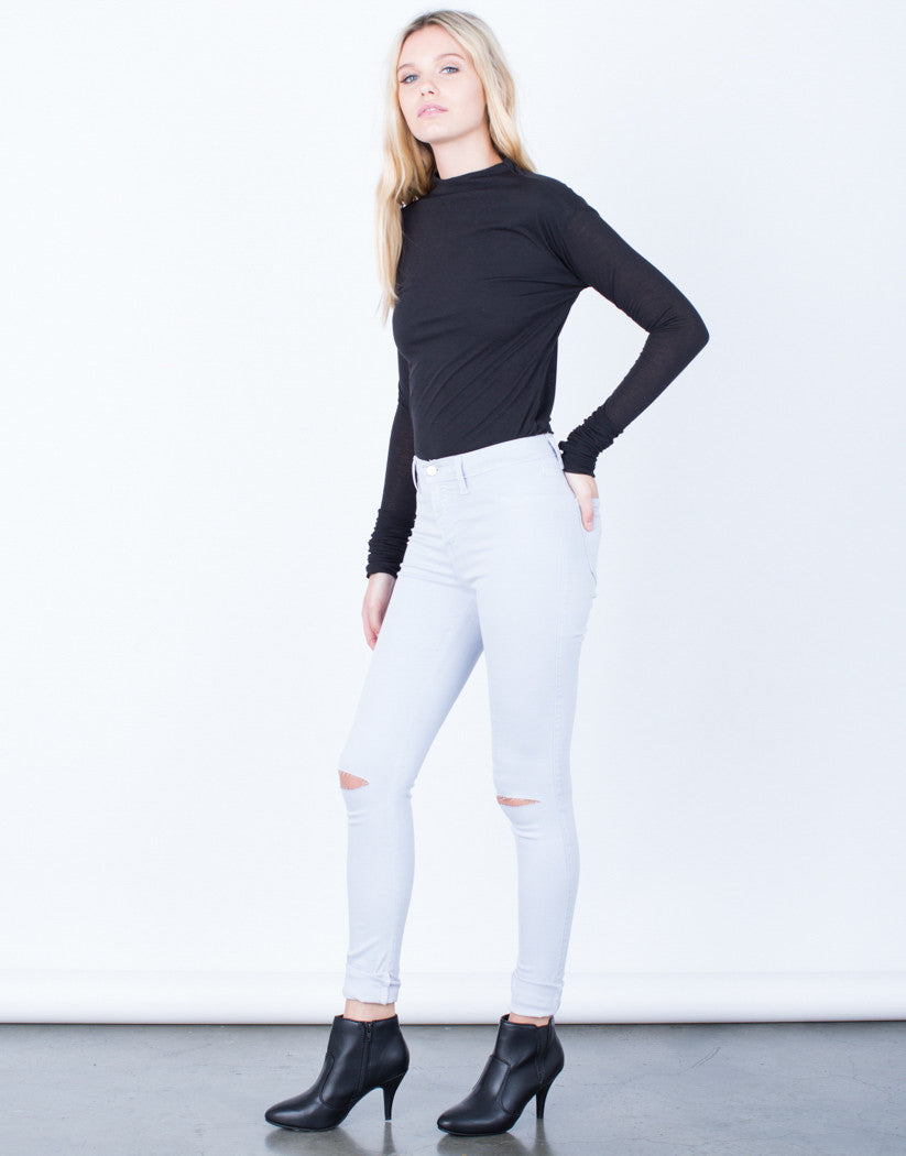 Side View of High Waisted Knee Slit Pants