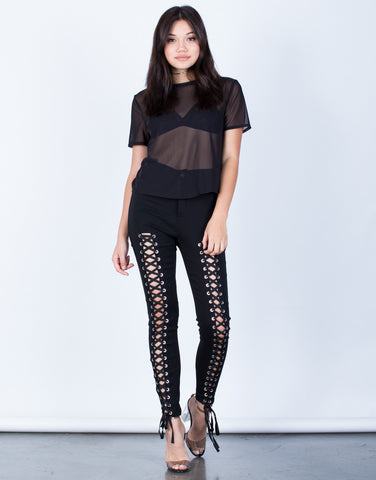 Front View of High Waisted Lace-Up Pants