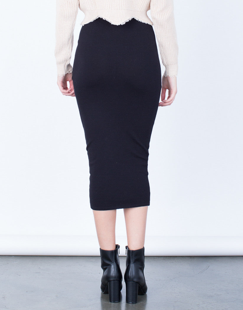 Back View of High Waisted Long Skirt