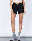 Black Denim High Waisted Short Shorts - Front View