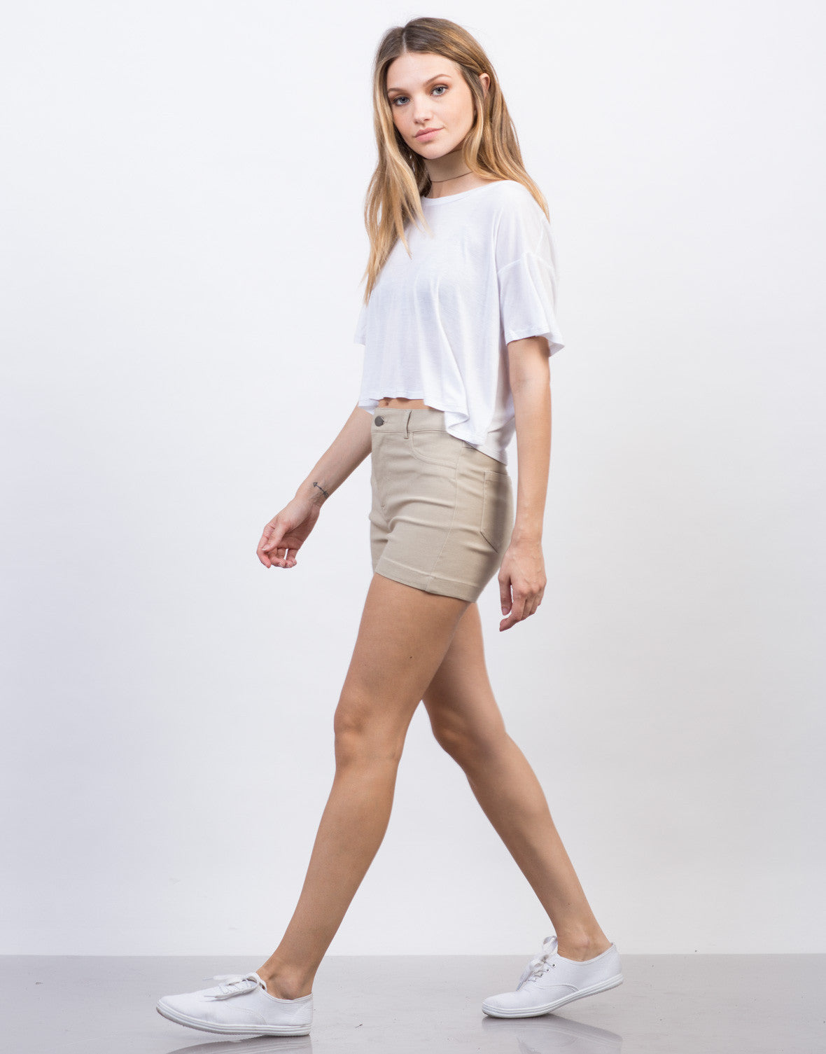 Side View of High Waisted Twill Shorts