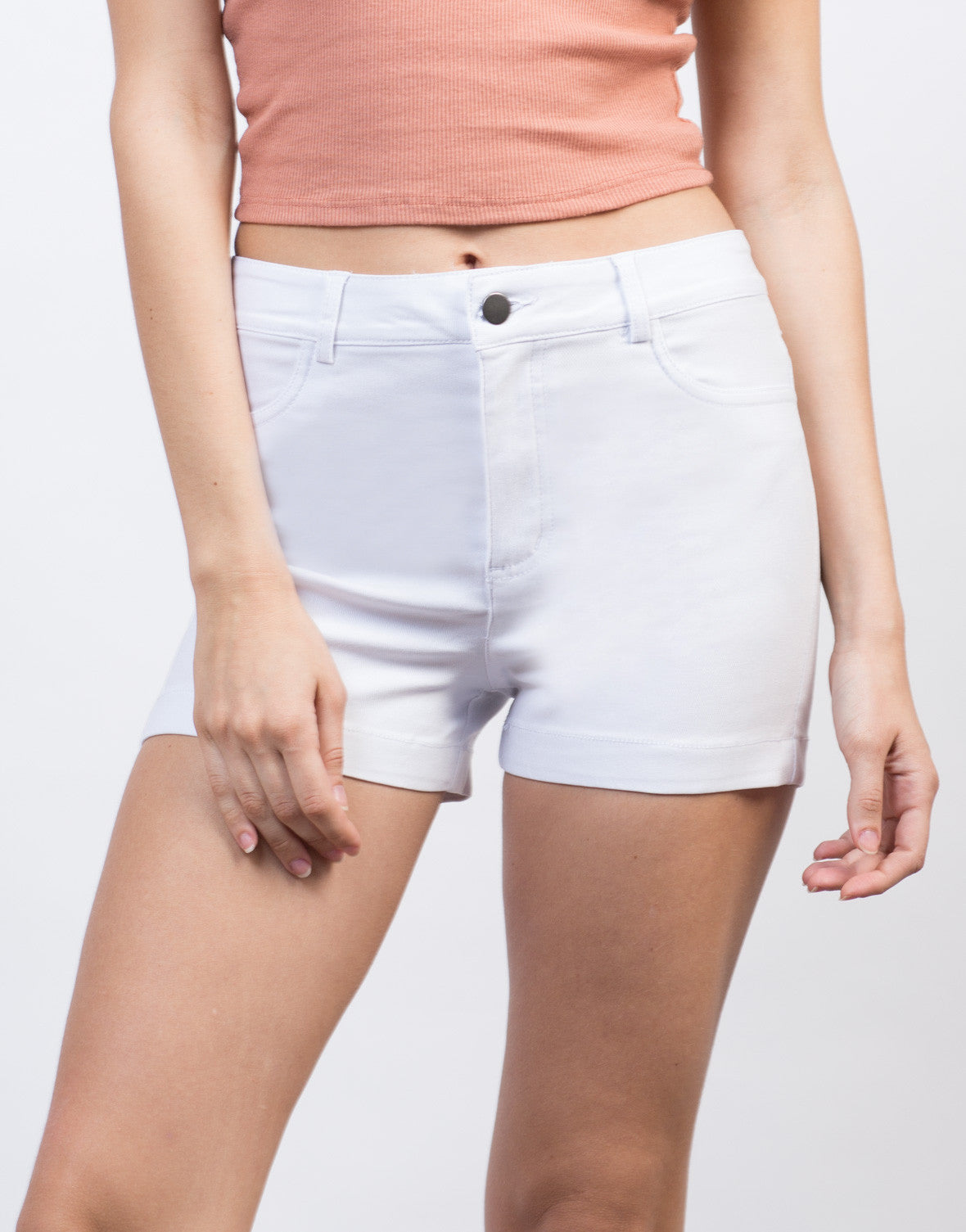 Detail of High Waisted Twill Shorts