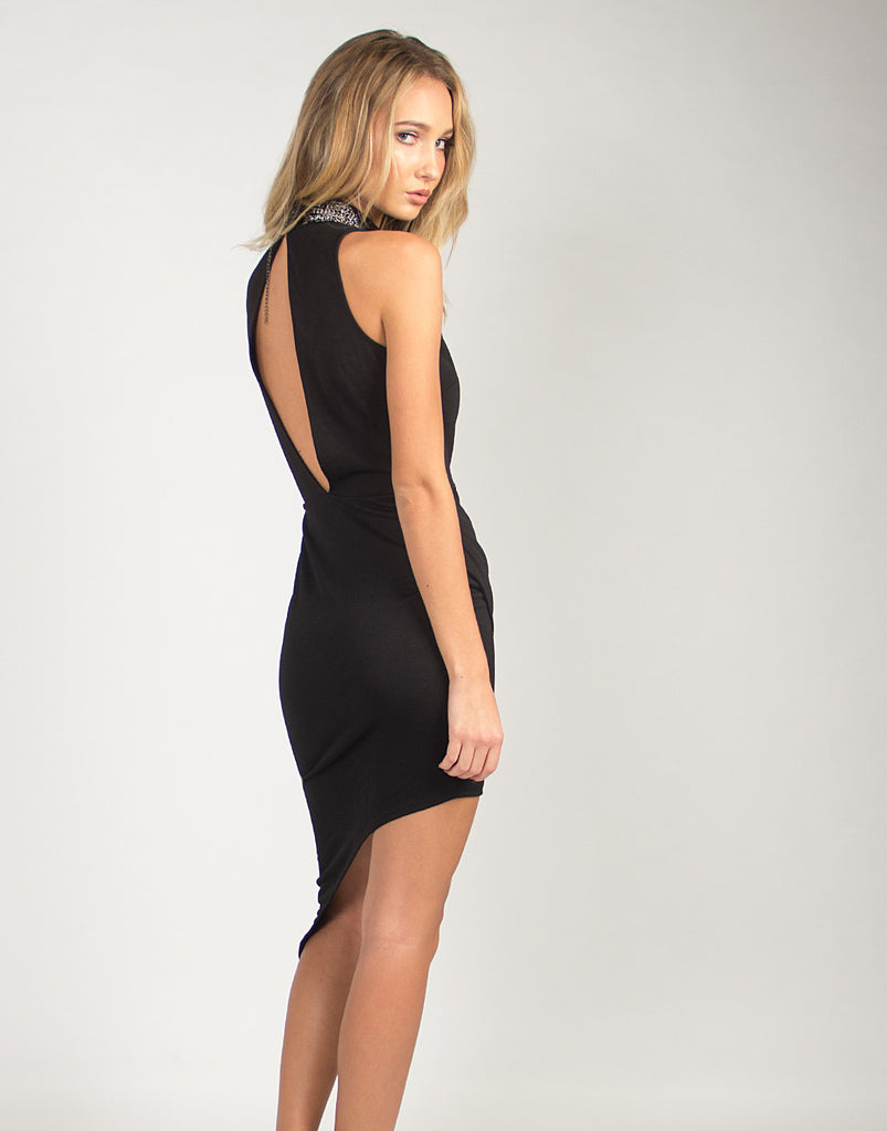 High Neck Asymmetrical Dress - 2020AVE