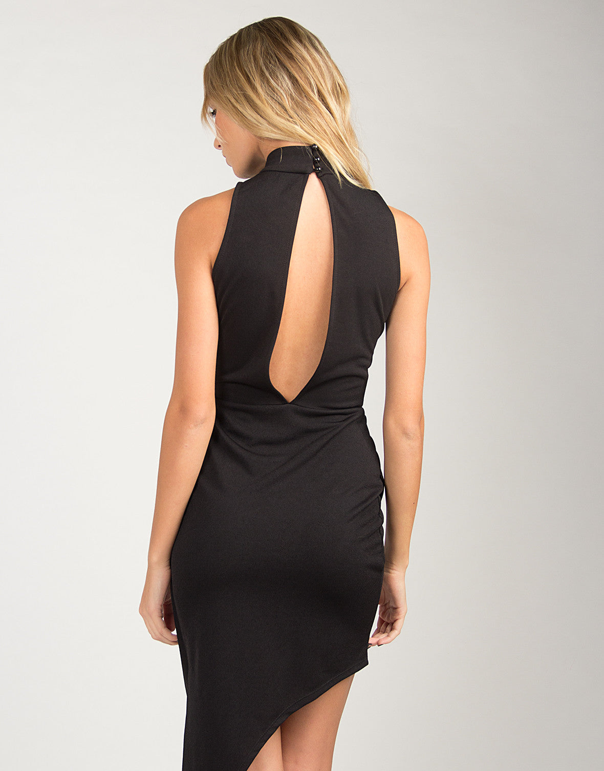 High Neck Asymmetrical Dress