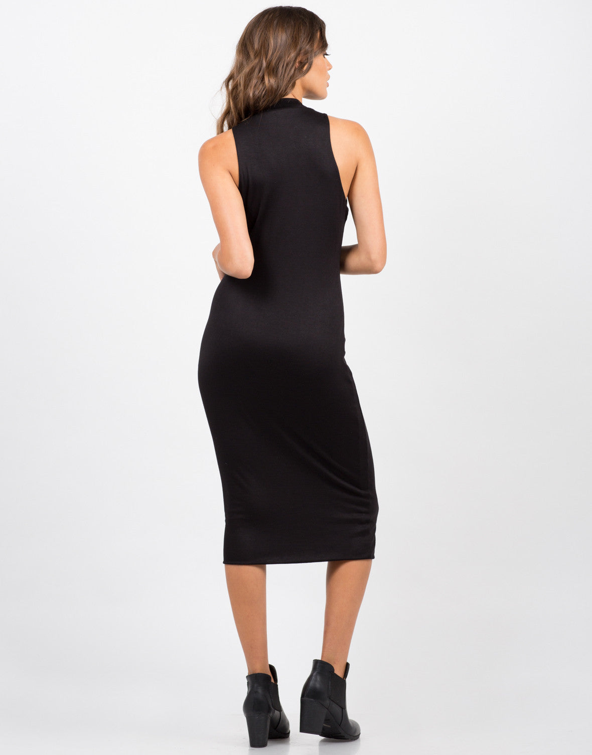 Back View of High Neck Body Con Dress - Black
