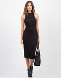 Front View of High Neck Body Con Dress - Black