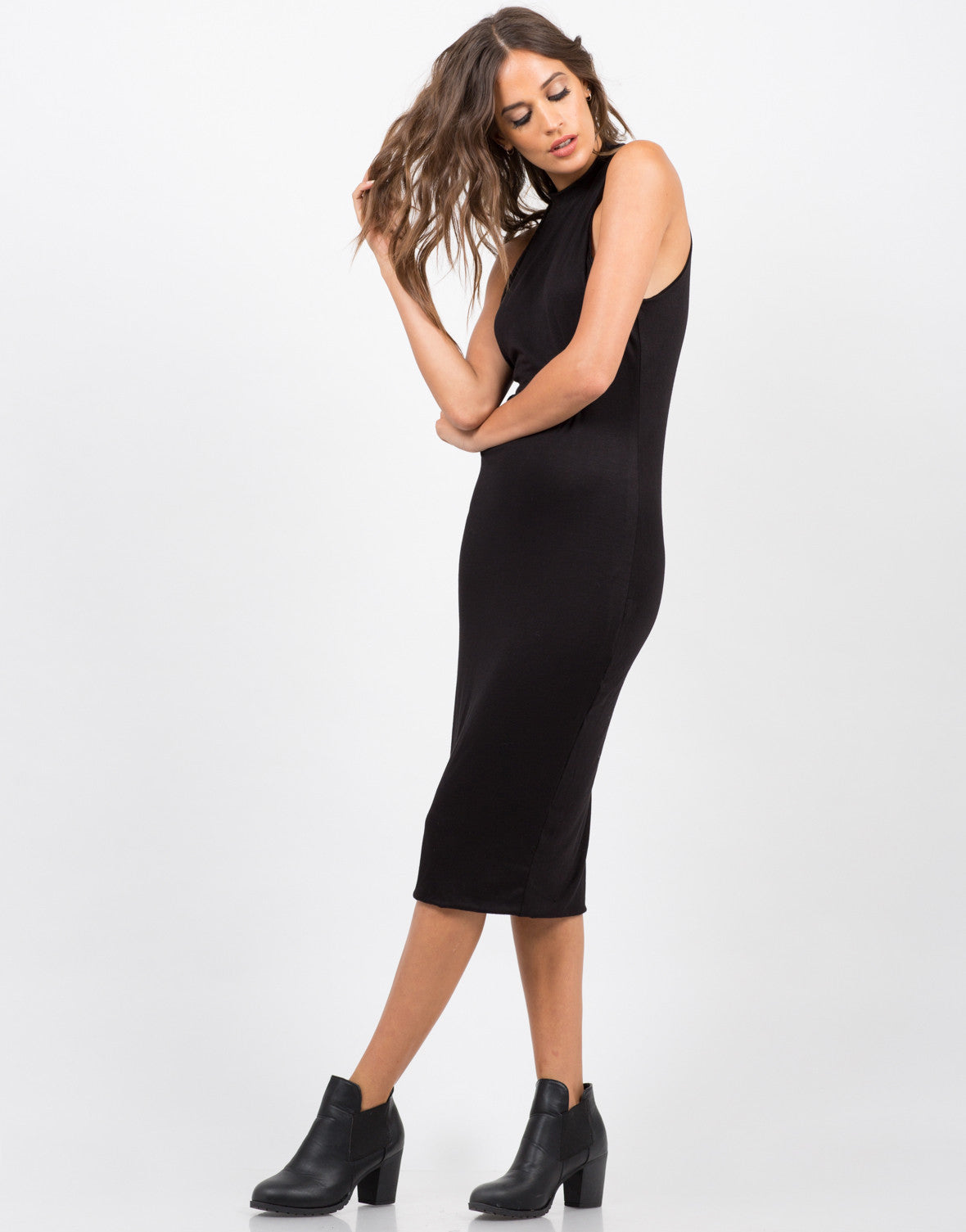 Side View of High Neck Body Con Dress - Black