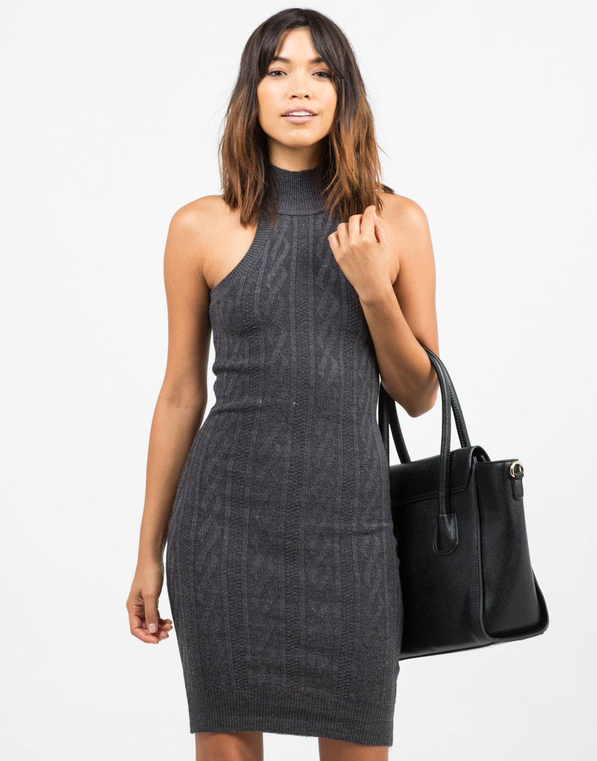 Front View of High Neck Contrast Knit Dress
