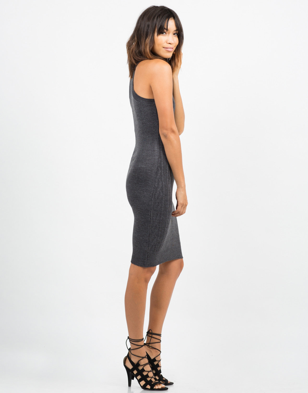 Side View of High Neck Contrast Knit Dress