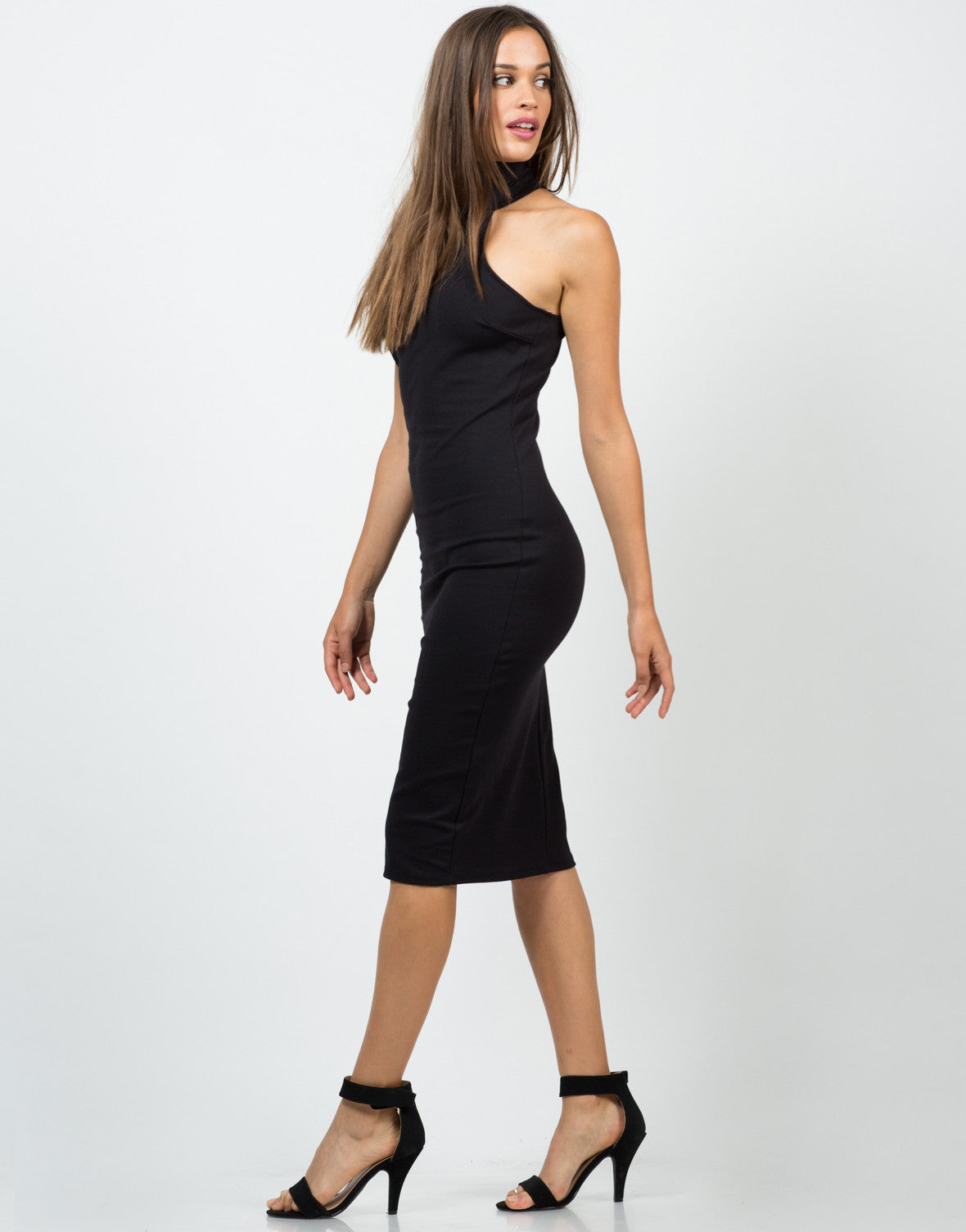 Side View of High Neck Midi Dress