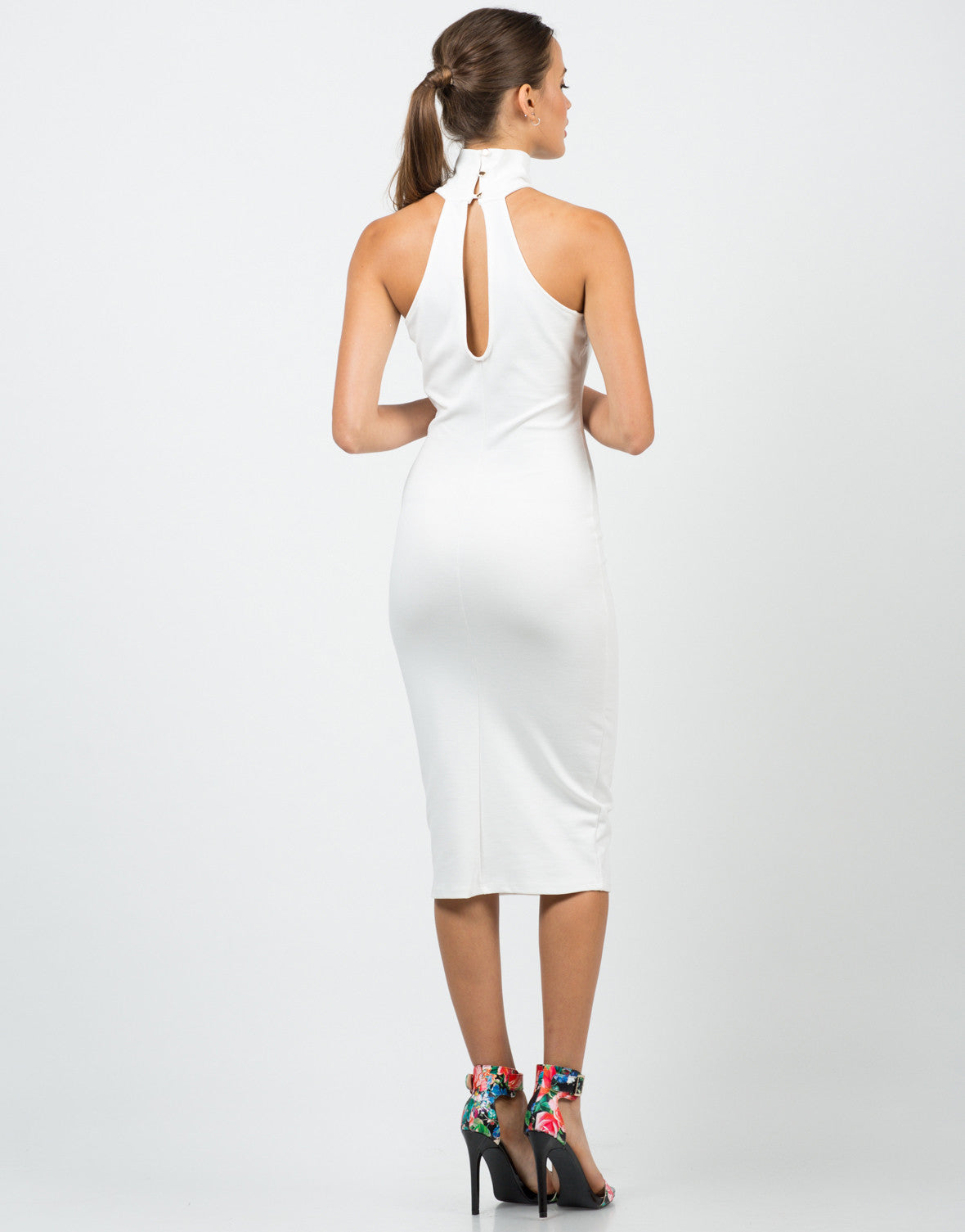 Back View of High Neck Midi Dress