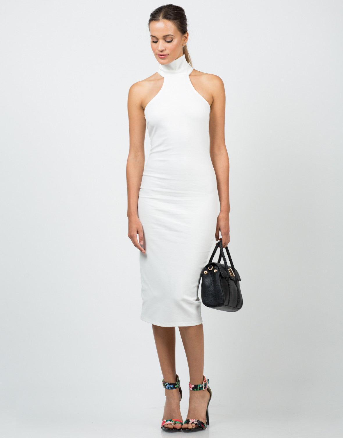 Front View of High Neck Midi Dress