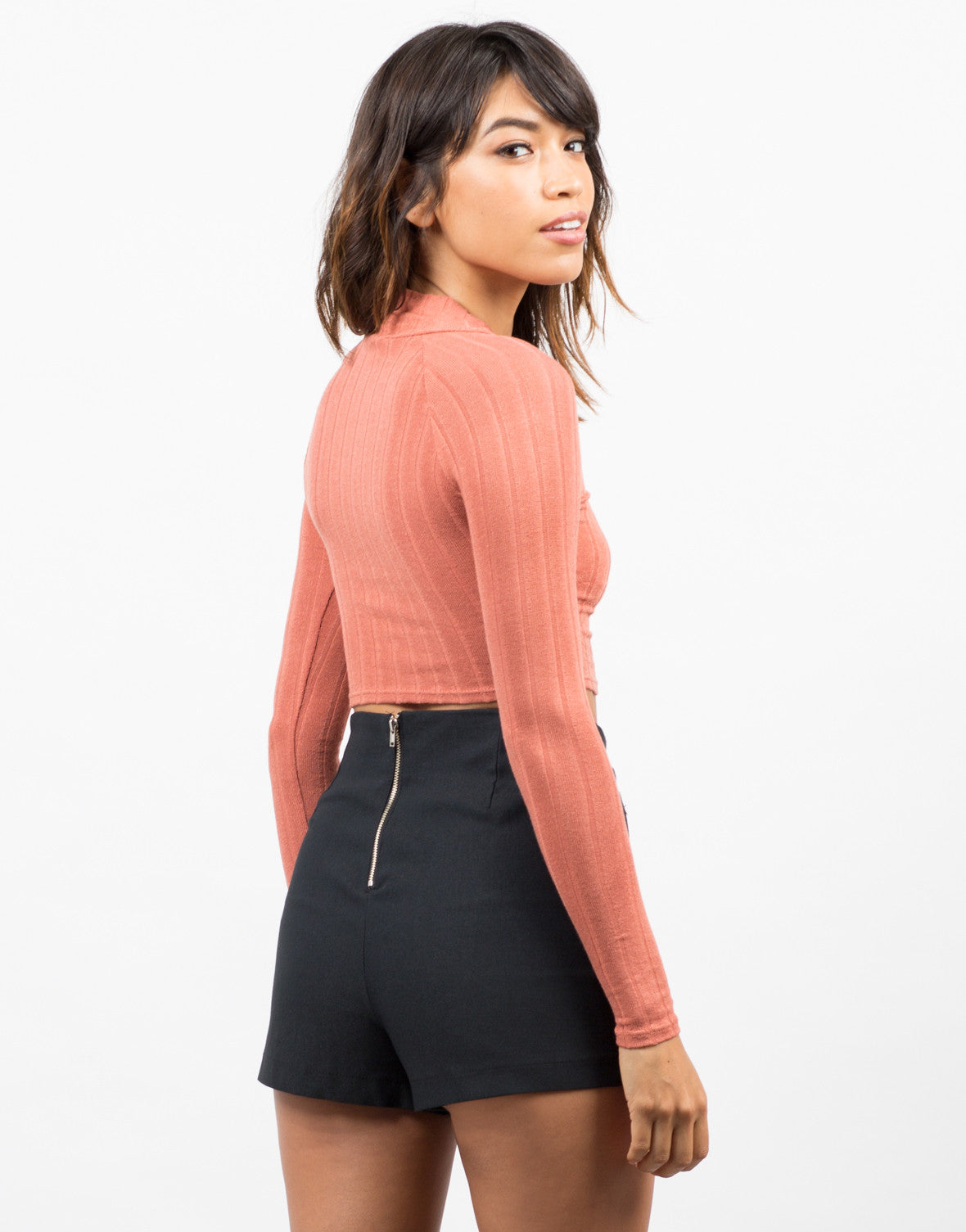 Back View of High Neck Ribbed Crop Top