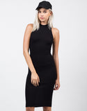 Front View of High Neck Ribbed Midi Dress