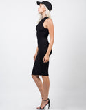 Side View of High Neck Ribbed Midi Dress