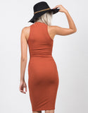 Back View of High Neck Ribbed Midi Dress