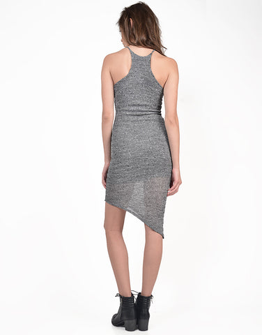 Back View of High Neck Side Swept Midi Dress
