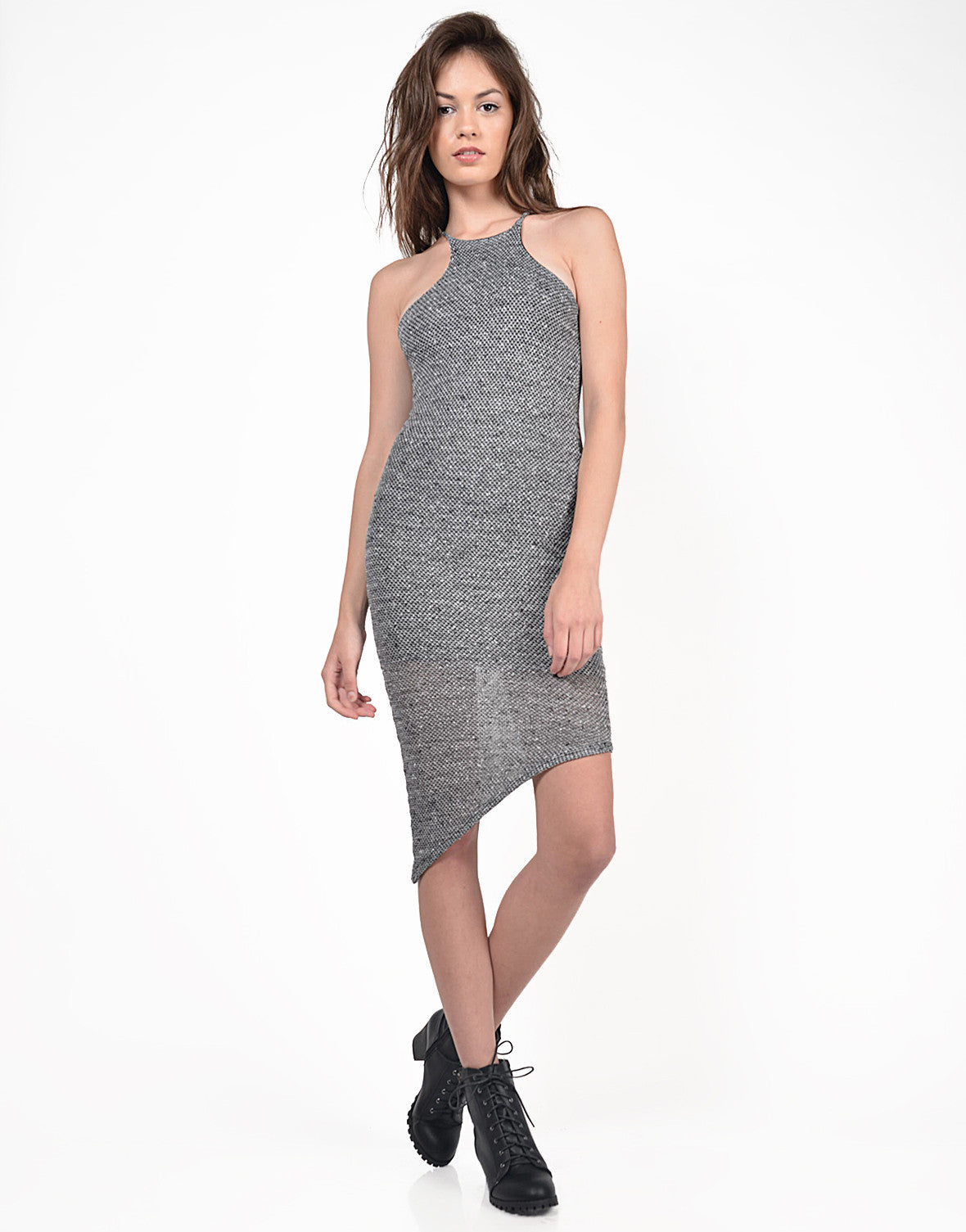 Front View of High Neck Side Swept Midi Dress