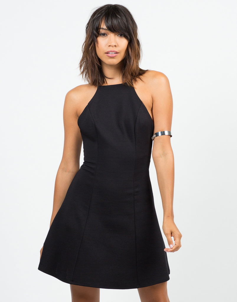 High Neck Strappy Flared Dress - 2020AVE