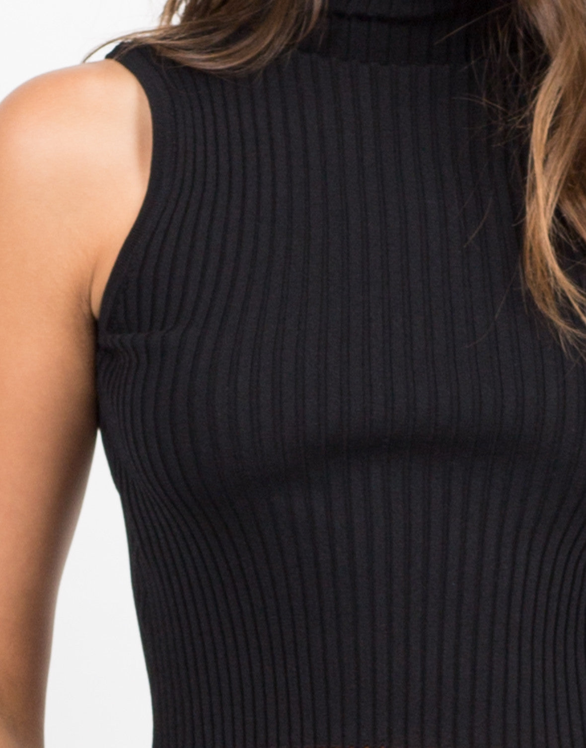 Detail of High Neck Stretchy Ribbed Tank