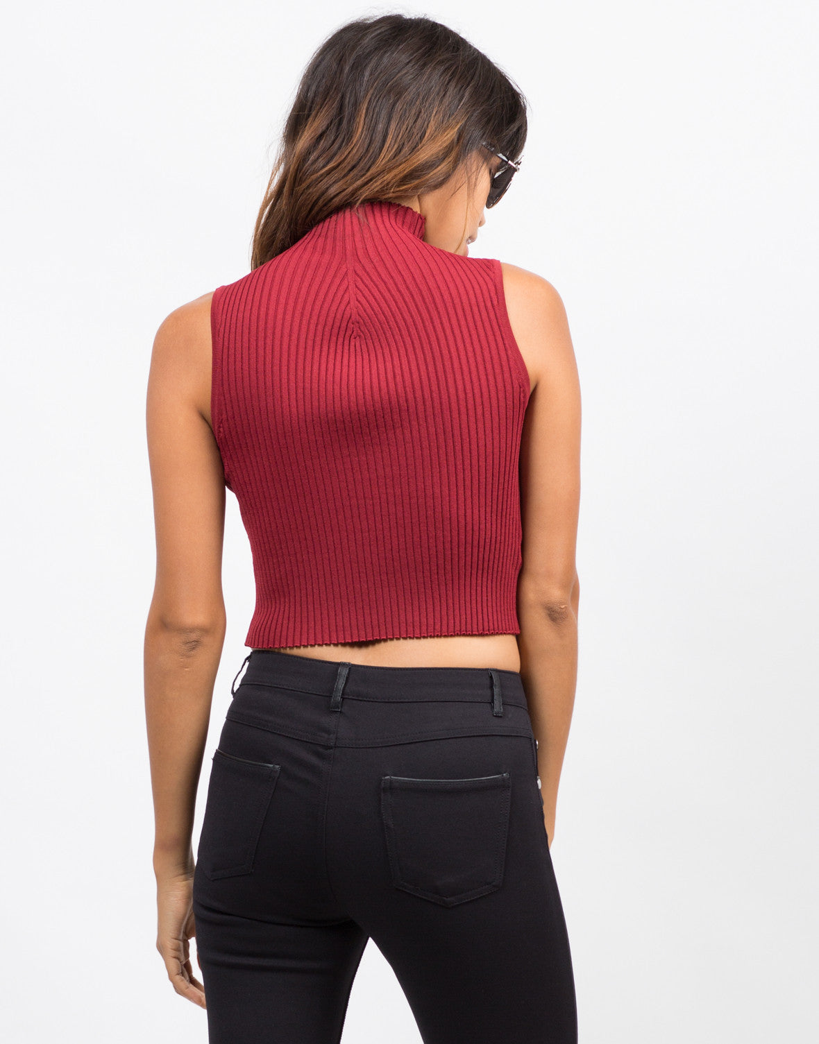Back View of High Neck Stretchy Ribbed Tank