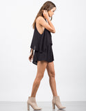 Side View of High Neck Tiered Romper