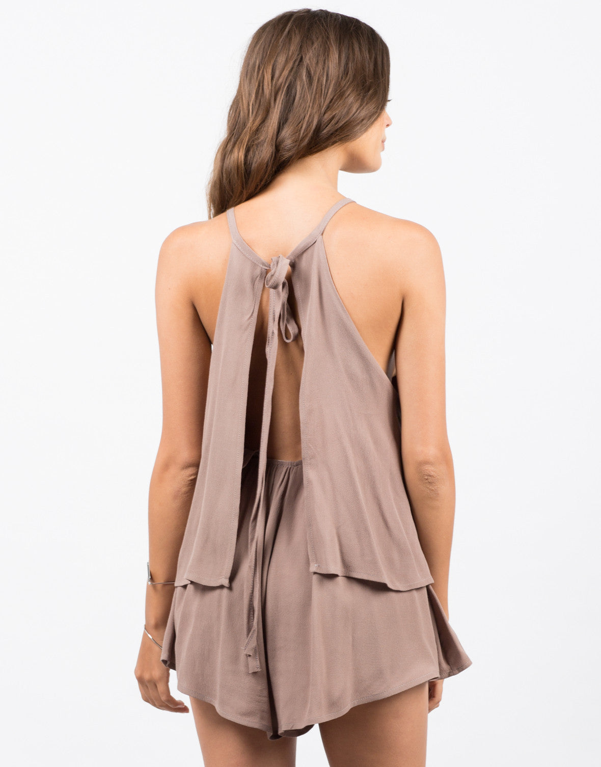 Back View of High Neck Tiered Romper