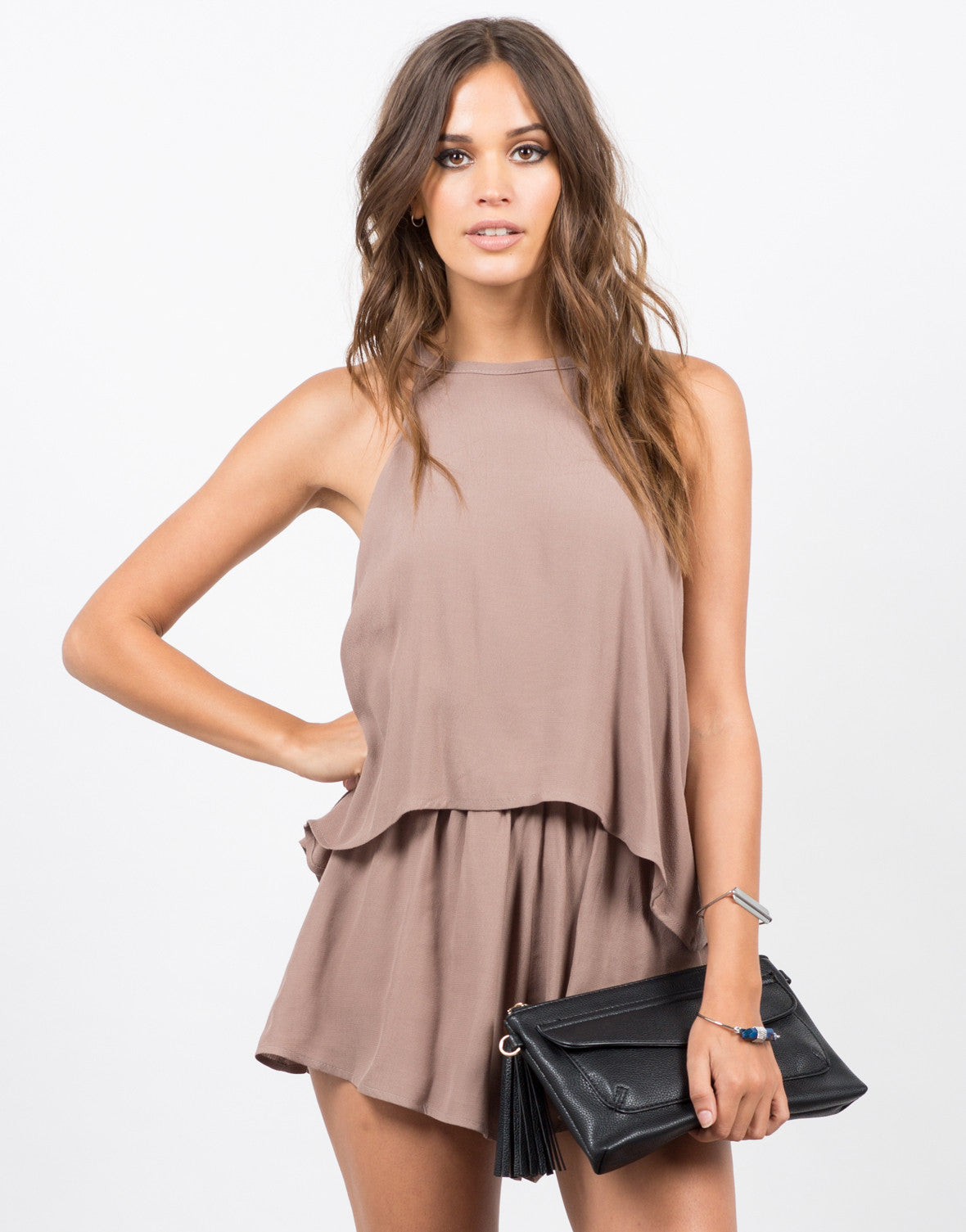 Front View of High Neck Tiered Romper