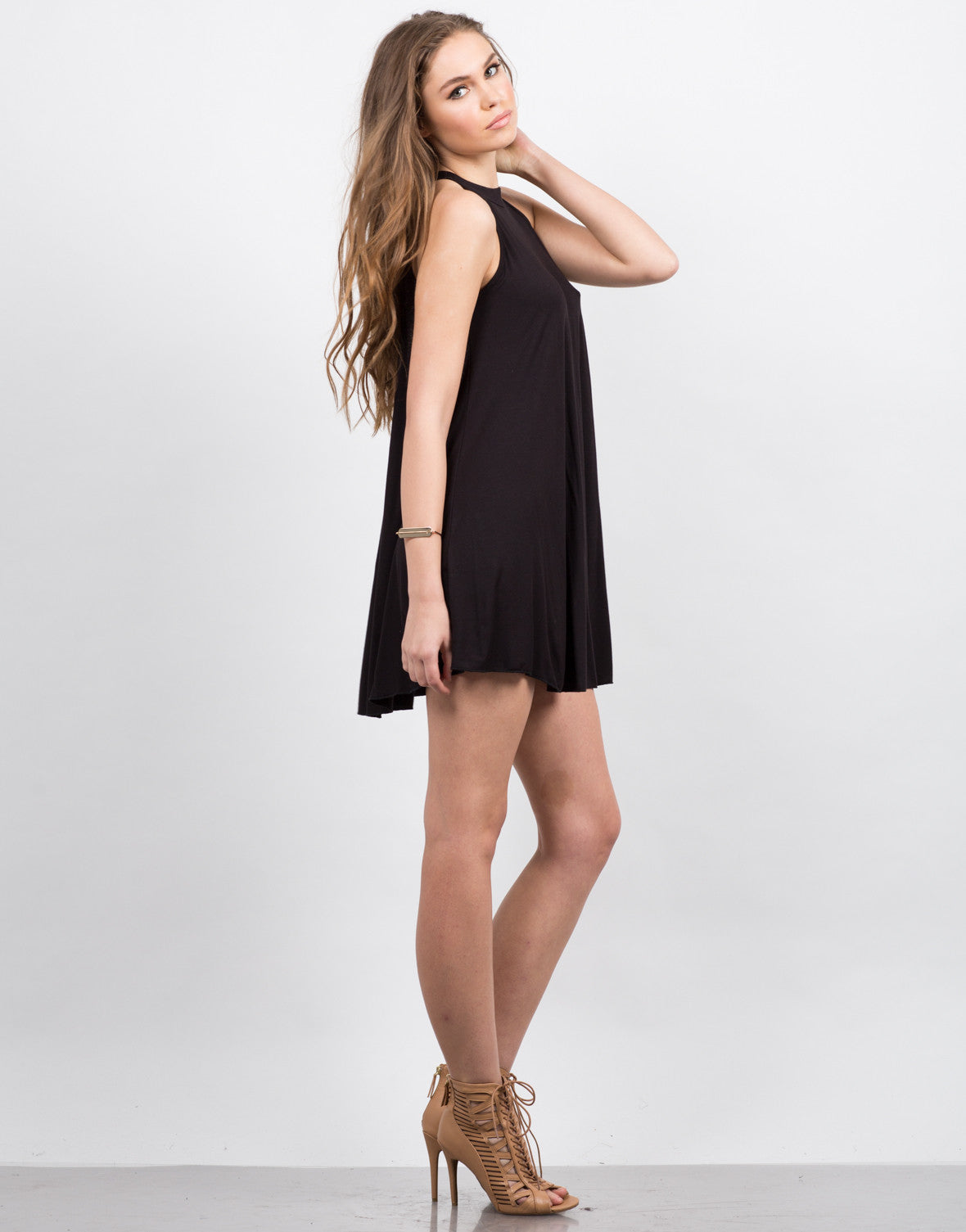Side View of High Neck Trapeze Dress
