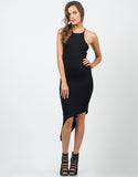 Front View of High Neck Unbalanced Jersey Dress