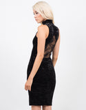 Back View of High Neck Velvet Dress