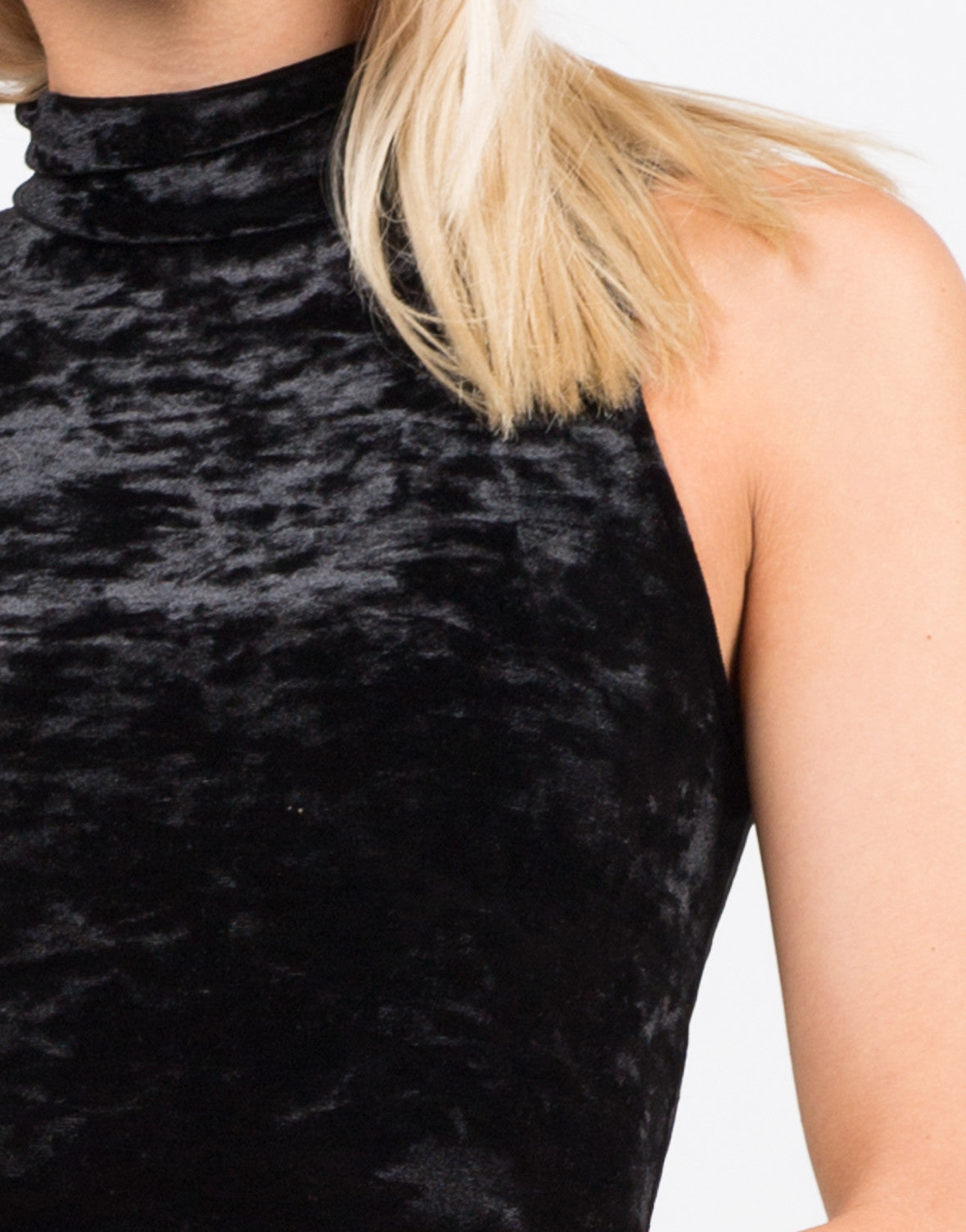 Detail of High Neck Velvet Dress