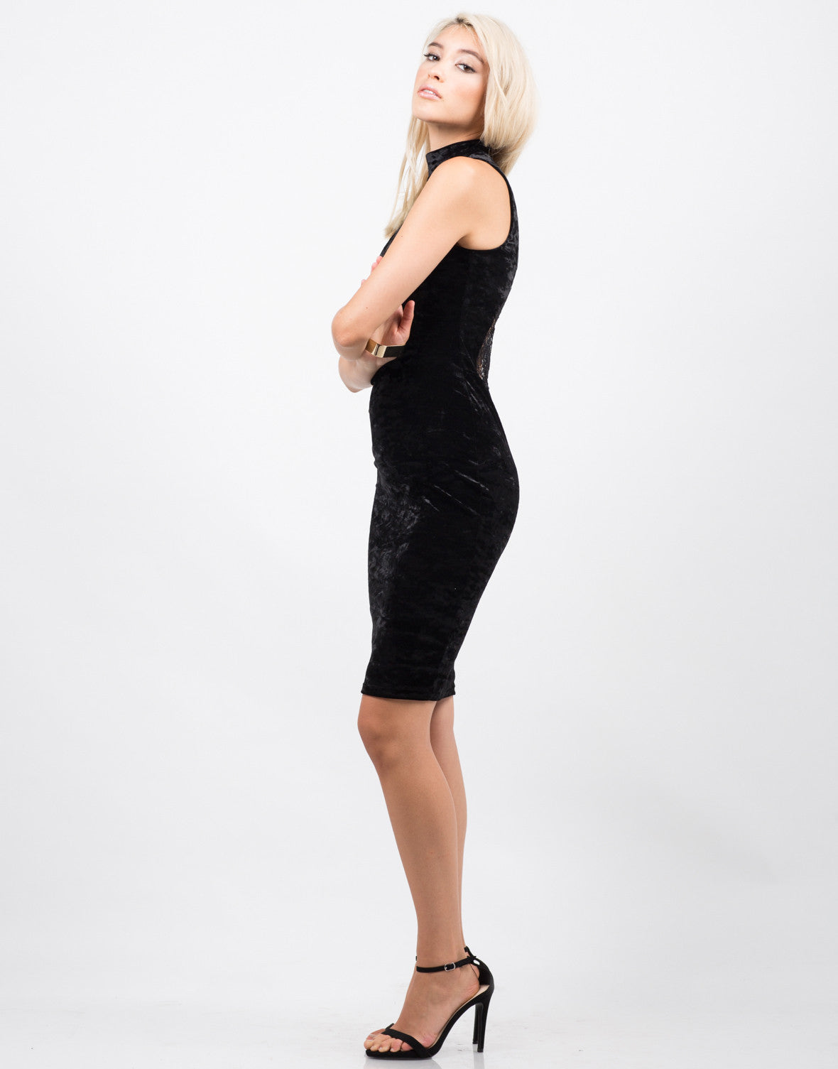 Side View of High Neck Velvet Dress