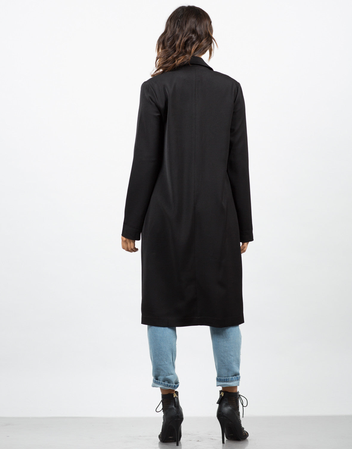 Back View of High Slit Double Breasted Coat