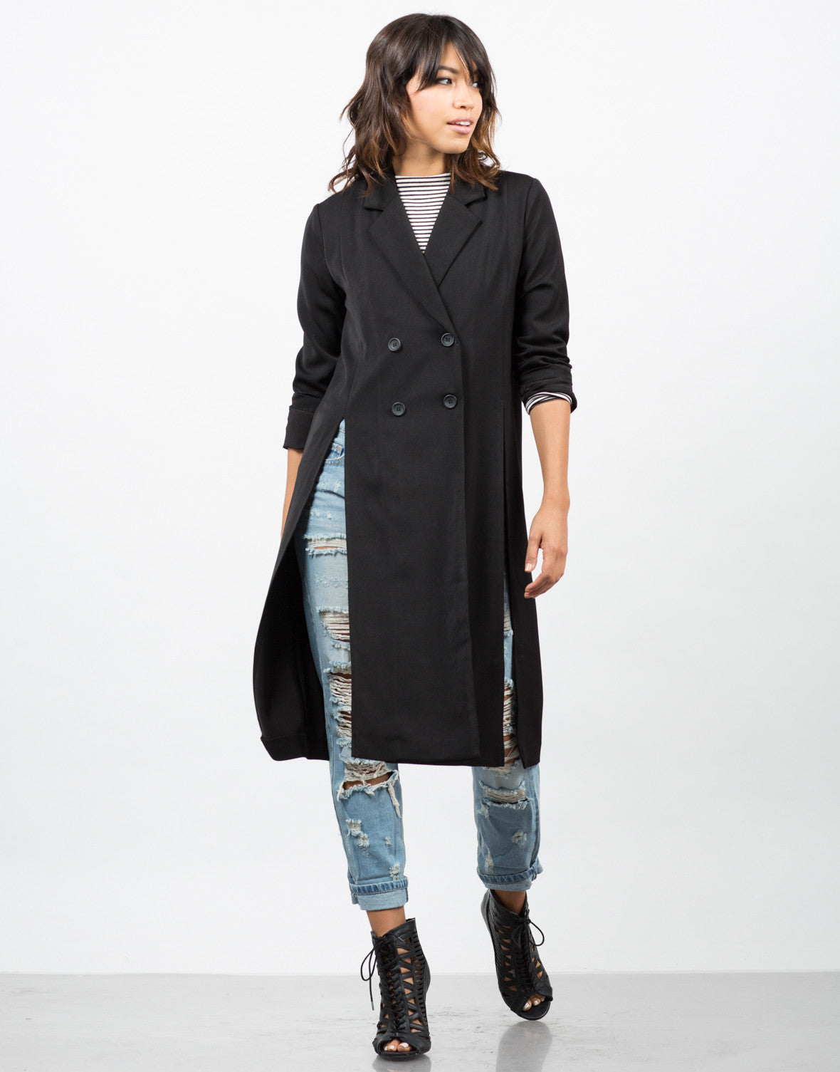 Front View of High Slit Double Breasted Coat