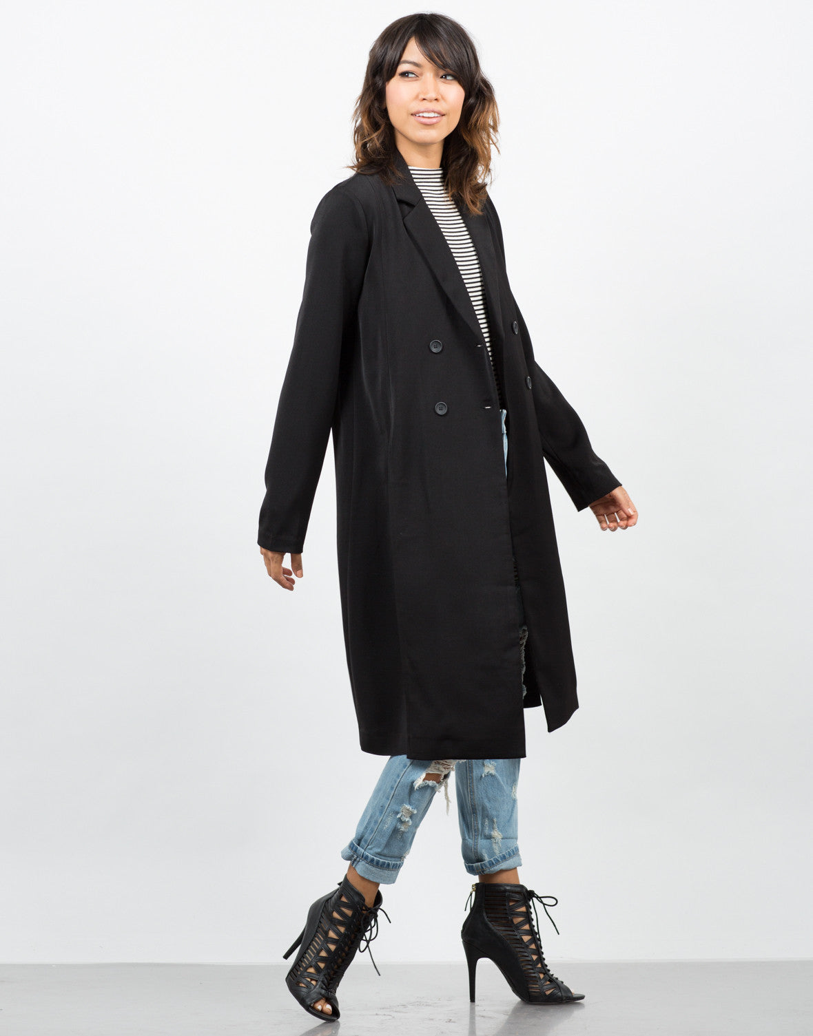 Side View of High Slit Double Breasted Coat