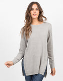 Front View of High Slit Knit Sweater
