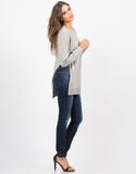 Side View of High Slit Knit Sweater