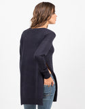 Back View of High Slit Knit Sweater