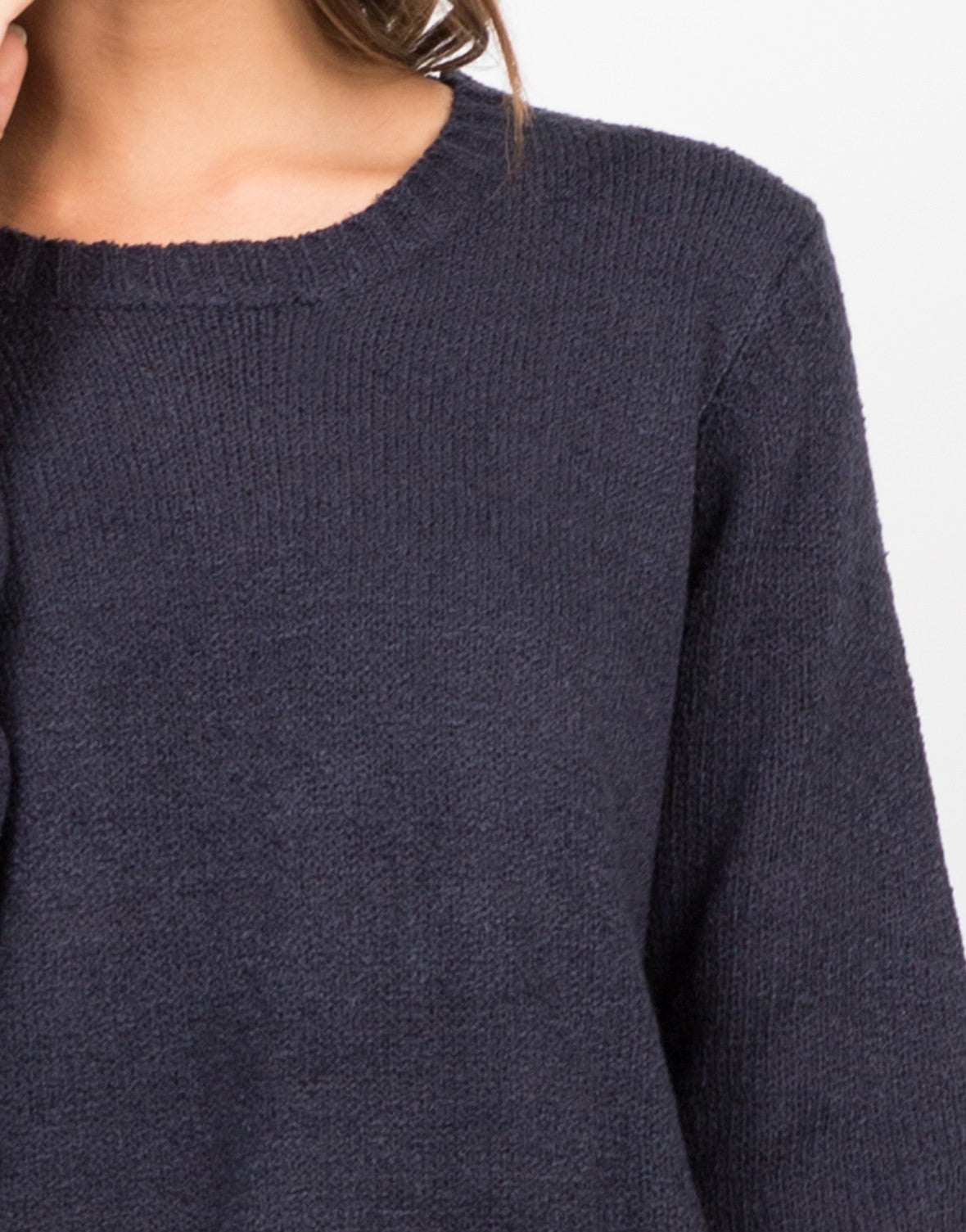 Detail of High Slit Knit Sweater