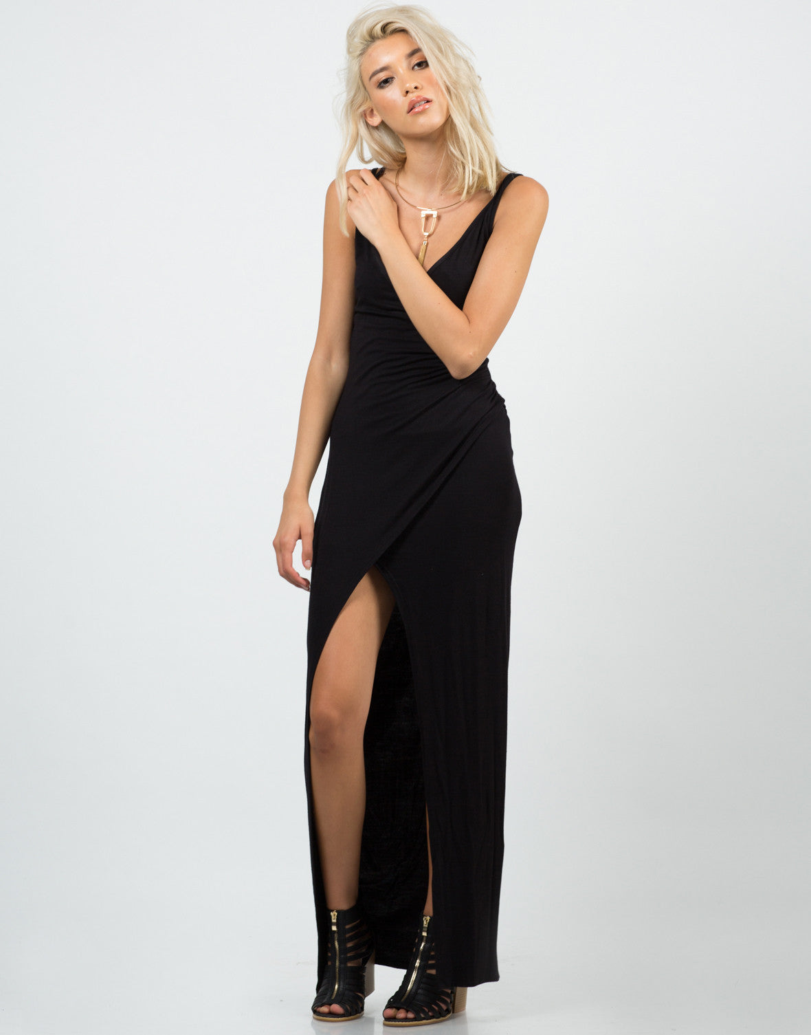 Front View of High Slit Maxi Dress