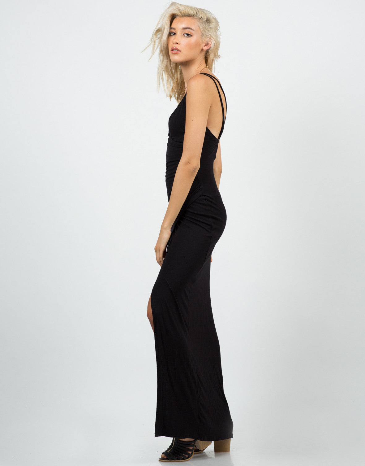 Side View of High Slit Maxi Dress