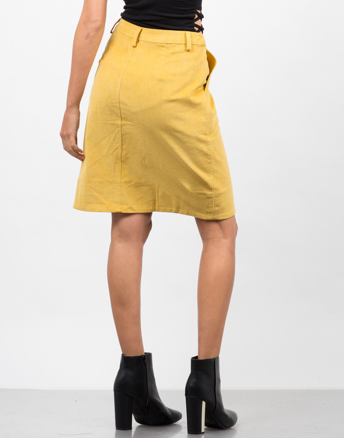 Back View of High Waisted Corduroy Skirt