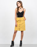 Front View of High Waisted Corduroy Skirt