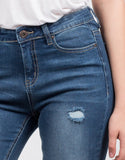 Detail of High Waisted Destroyed Jeans