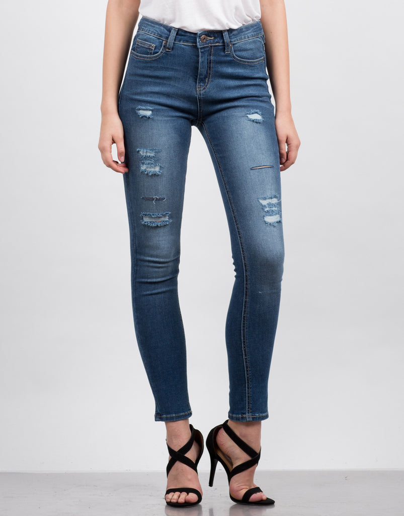High Waisted Destroyed Jeans - 2020AVE