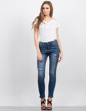 Front View of High Waisted Destroyed Jeans